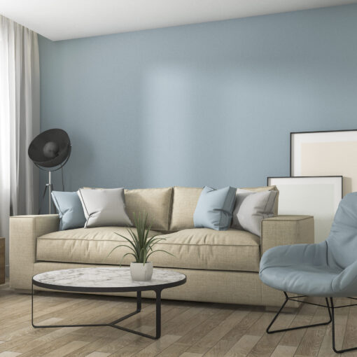 3d Rendering Blue Decoration Living Room With Nice Furniture