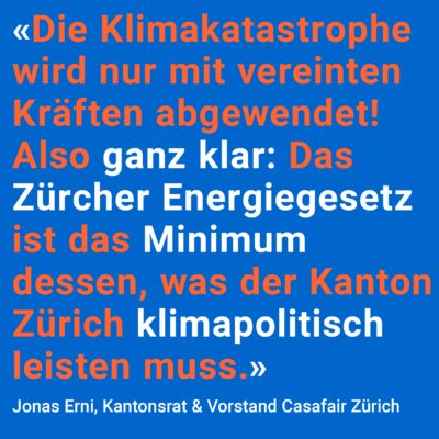 Casafair sagt «Ja zum neuen Zürcher Energiegesetz»
