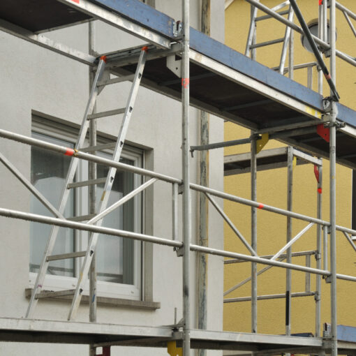 Scaffold At A House Under Renovation